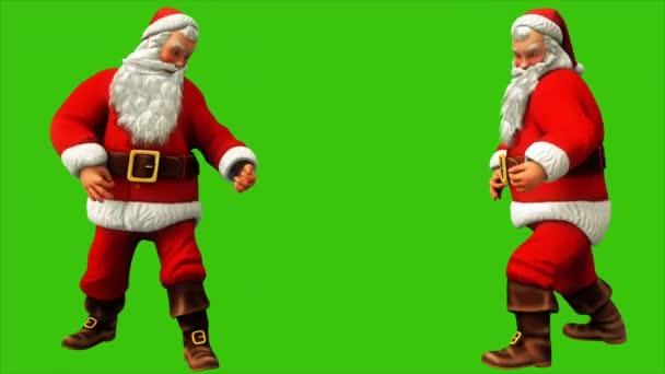 Santa Claus gitározik a zöld képernyő 4k karácsonykor. Varrat nélküli hurok élénkség.