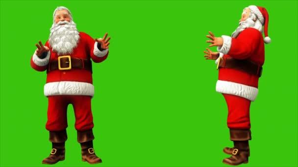 Santa Claus, hogy egy hullám a kezét a zöld képernyőn a 4k karácsonykor. Varrat nélküli hurok élénkség.