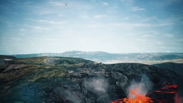 Velký drak letící nad pouštní pozadí animace 3d vykreslování