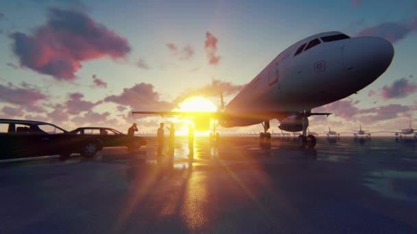 Podnikatelé mluví před jeho letadla před odletem. Pojem cesty nebo cesty