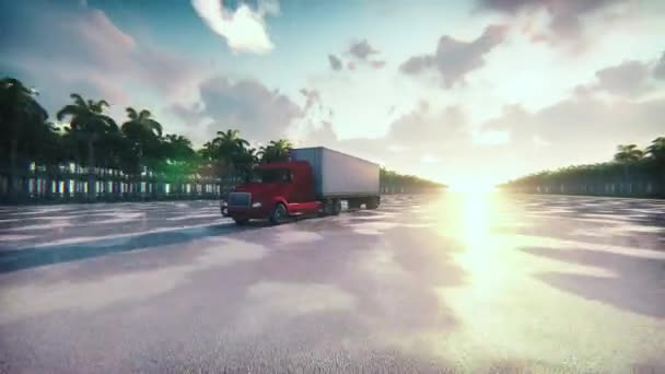Shot z kamionu s přívěsem nákladní na mokré silnici