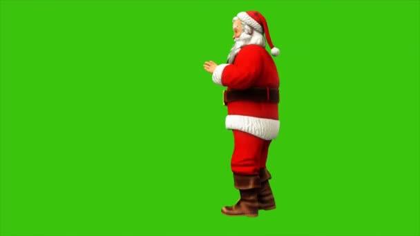 Santa claus tančí na zelené obrazovce během Vánoc 4k. Bezešvá smyčka animace.