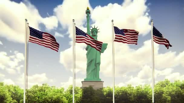 The American flags flutters in the wind on a Sunny day against the blue sky and the Statue of Liberty. The symbol of America and the American national holiday. Loopable.