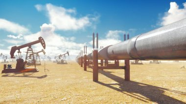 Pump Jack and pipeline for oil on a Sunny day. Pipeline transportation oil. 3D Rendering
