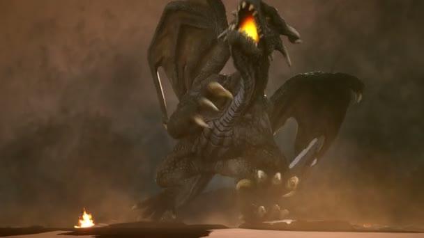 Velký rozzlobený drak v poušti bojuje jeho nepřátel. 3D animace fantasy pozadí.