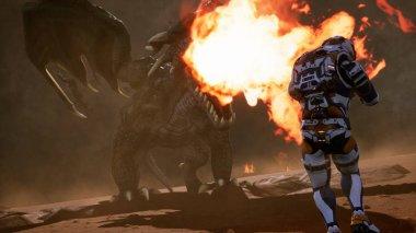 Astronot ejderha karşı. Patlamalar, görüntüleri ve bilinmeyen bir gezegende duman ile destansı bir savaş. 3D render