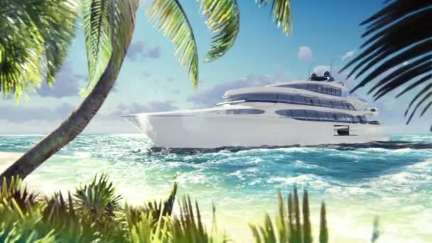 Luxusní moderní jachtě v moři při západu slunce. Moderní jachty kotvící poblíž opuštěném tropickém ostrově. Smyčky realistické animace.