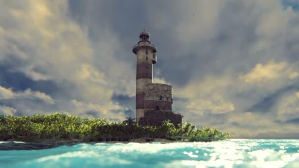 Starý maják na pobřeží při západu slunce. Realistické filmové smyčky animace.