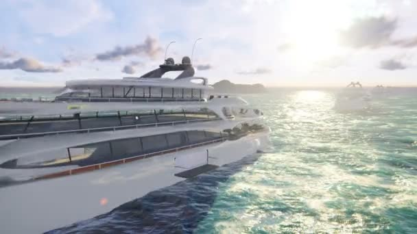 A fleet of luxury modern yachts sailing the ocean on a Sunny day  Looped  realistic animation