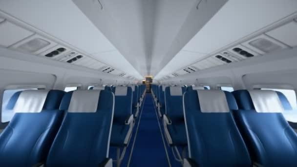 Interiér moderního letadla s cestujícími na sedadlech. Prázdná sedadla v letadle v moderním interiéru.
