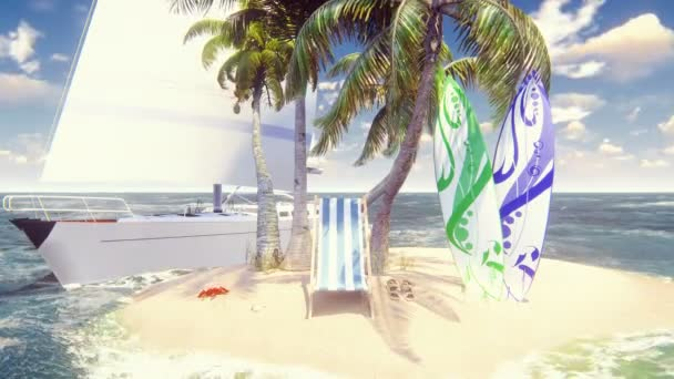 Beautiful wild island, beach and palm trees, white sand and blue sky, beach chair, surfboards and yacht. Amazing summer travel, looped background.