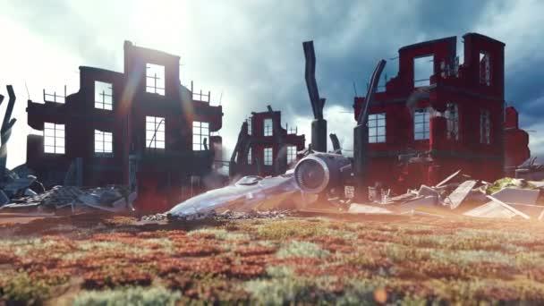 ein abgestürztes Raumschiff in einer postapokalyptischen Ruinenstadt. das Konzept der Apokalypse. Realistische Animation.