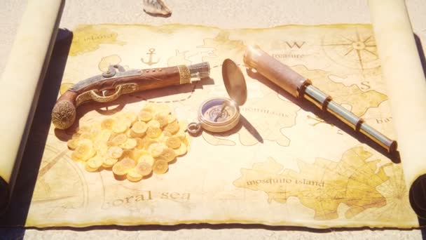 Pirate compass with pistol and spyglass lie on the treasure map. Pirate treasure and old pirate map on pirate island.