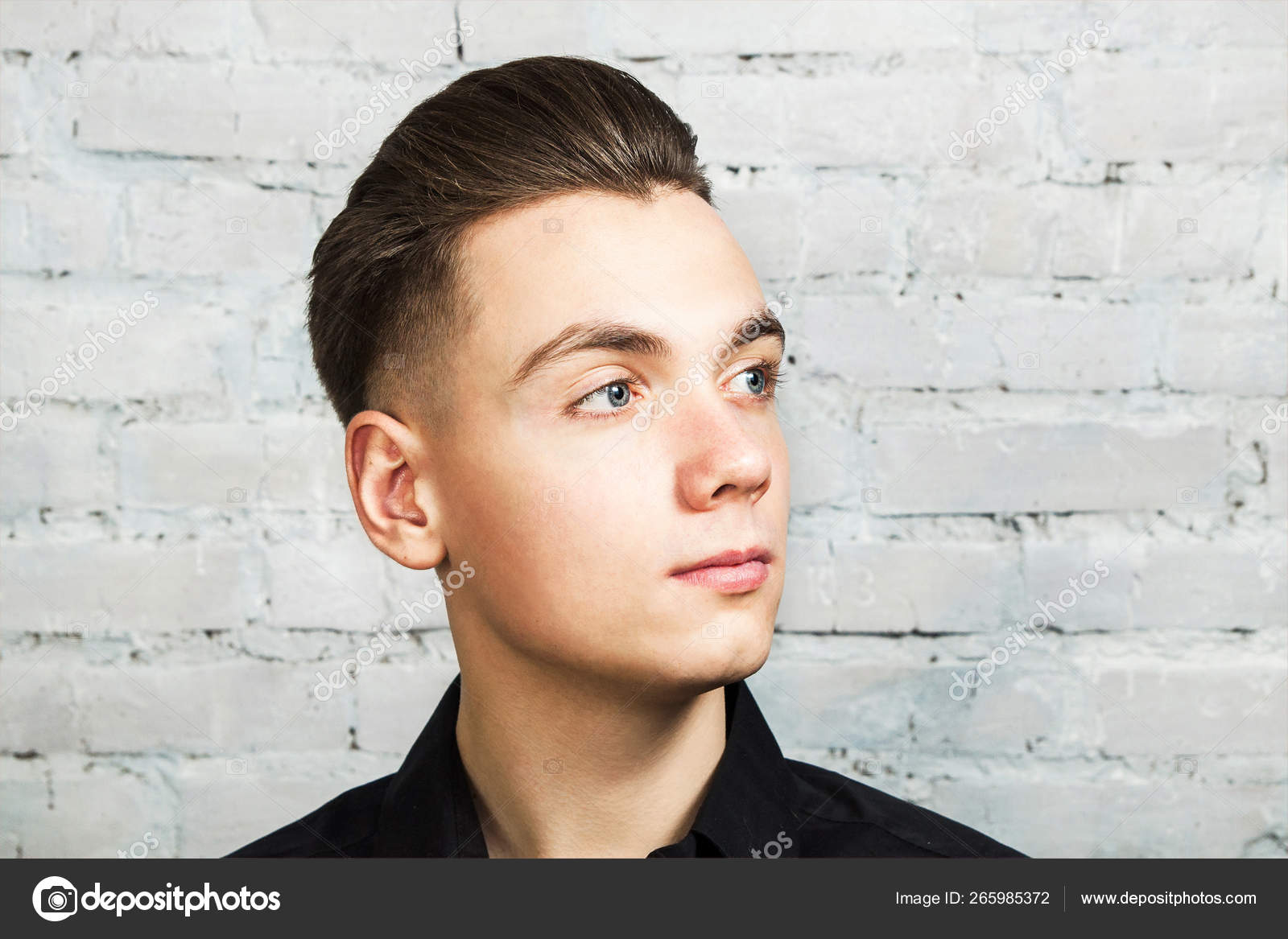 Brilliant Young White Guy With A Pompadour Hairstyle Dressed In Black Shirt Schematic Wiring Diagrams Phreekkolirunnerswayorg