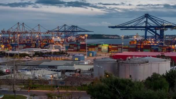 Athens, Greece, 1/5/2019, Trading Port Activity,trucks,vehicles, Hoisting Cranes at evening