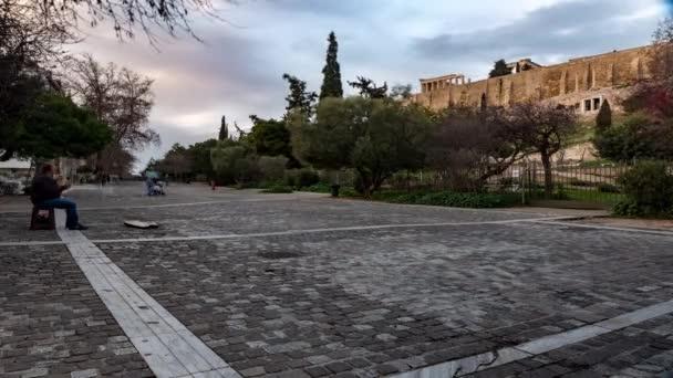 Athens, Greece, 01-23-2019 people walking the pedestrian street around acropolis