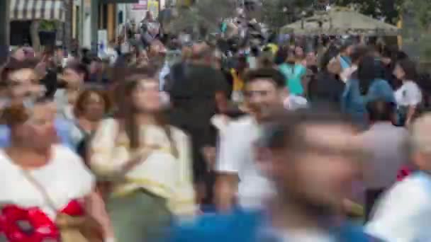 time lapse of Crowd of people walking in a busy street of town