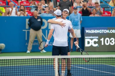 Andy Murray and Jamie Murray (GBR) defeat Nicolas Mahut and Edouard Roger-Vasselin (FRA, not pictured) at the Citi Open tennis tournament on July 31, 2019 in Washington DC