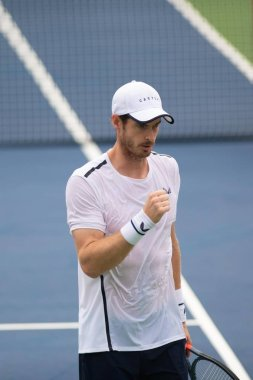 Andy Murray (R) during doubles play with brother Jamie Murray (GBR) at the Citi Open tennis tournament on July 31, 2019 in Washington DC