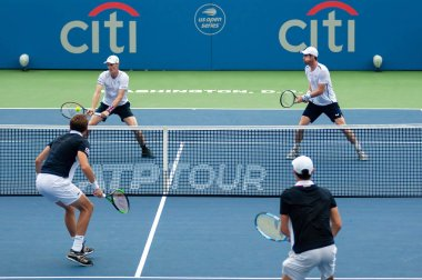 Andy Murray and Jamie Murray (GBR) defeat Nicolas Mahut and Edouard Roger-Vasselin (FRA) at the Citi Open tennis tournament on July 31, 2019 in Washington DC