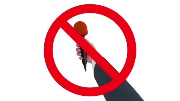 Hand mit Mikrofon im Verbotsschild