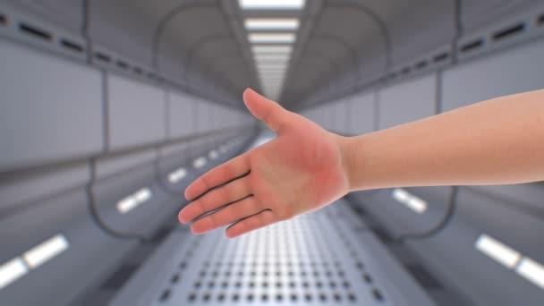 Handshake s robotem na futuristické pozadí