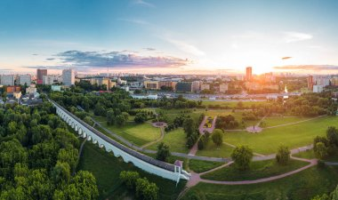 Aerial view of Moscow over the Rostokino Aqueduct