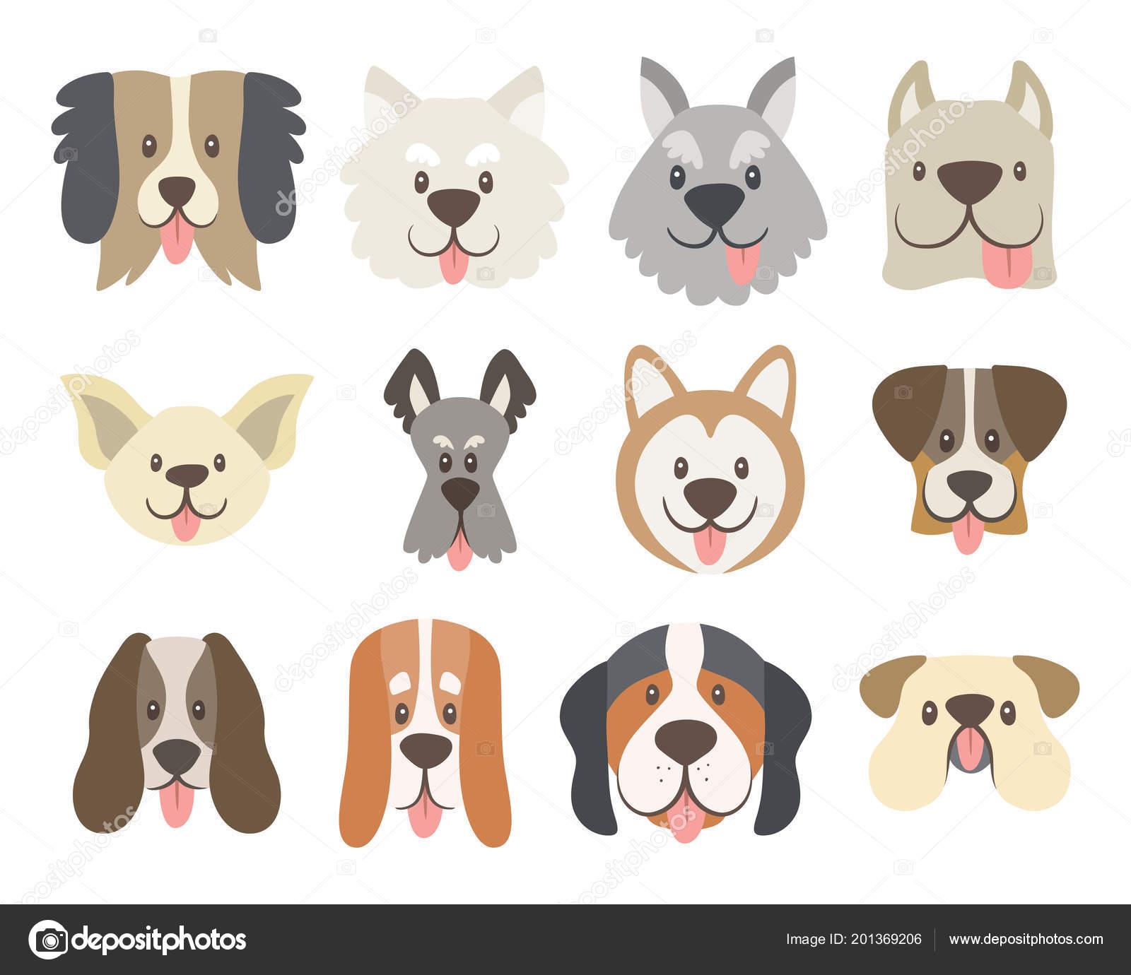 Perro Enfrenta Colección Cute Dibujos Animados Caras Perro Con