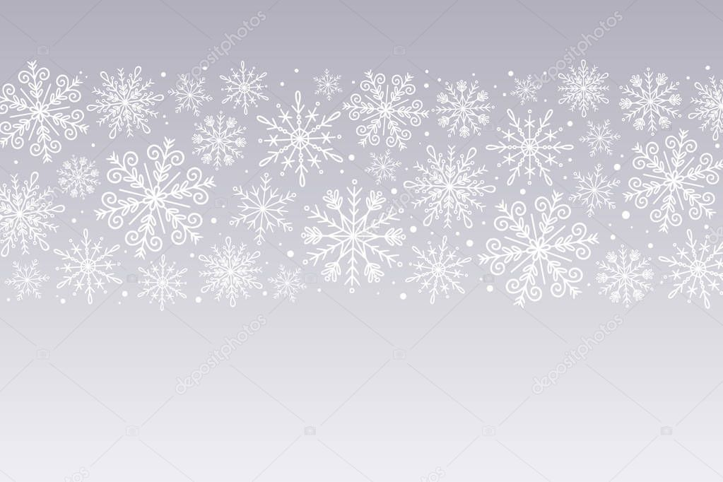 Snowflakes background. White snowflakes isolated on silver background. Hand drawn horizontal design banner. Perfect for winter designs. Vector illustration.