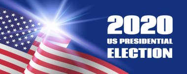 2020 US Presidential Election banner. Vector template with USA flag