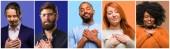 Skupina cool lidi, Žena a muž s rukama v srdci, vyjadřující koncept láska a zdraví