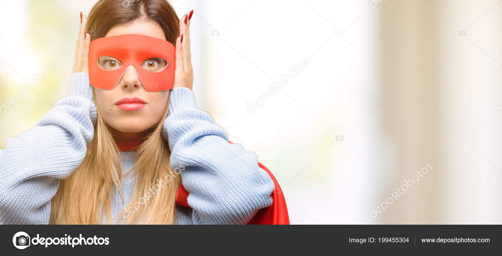 Young Super Woman Covering Ears Ignoring Annoying Loud Noise Plugs