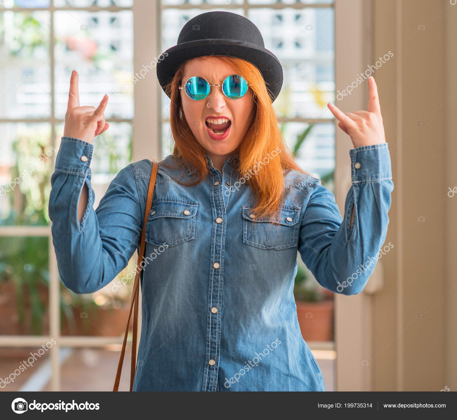 Stylish Redhead Woman Wearing Bowler Hat Sunglasses Shouting Crazy  Expression — Stock Photo 0b902b9ca597