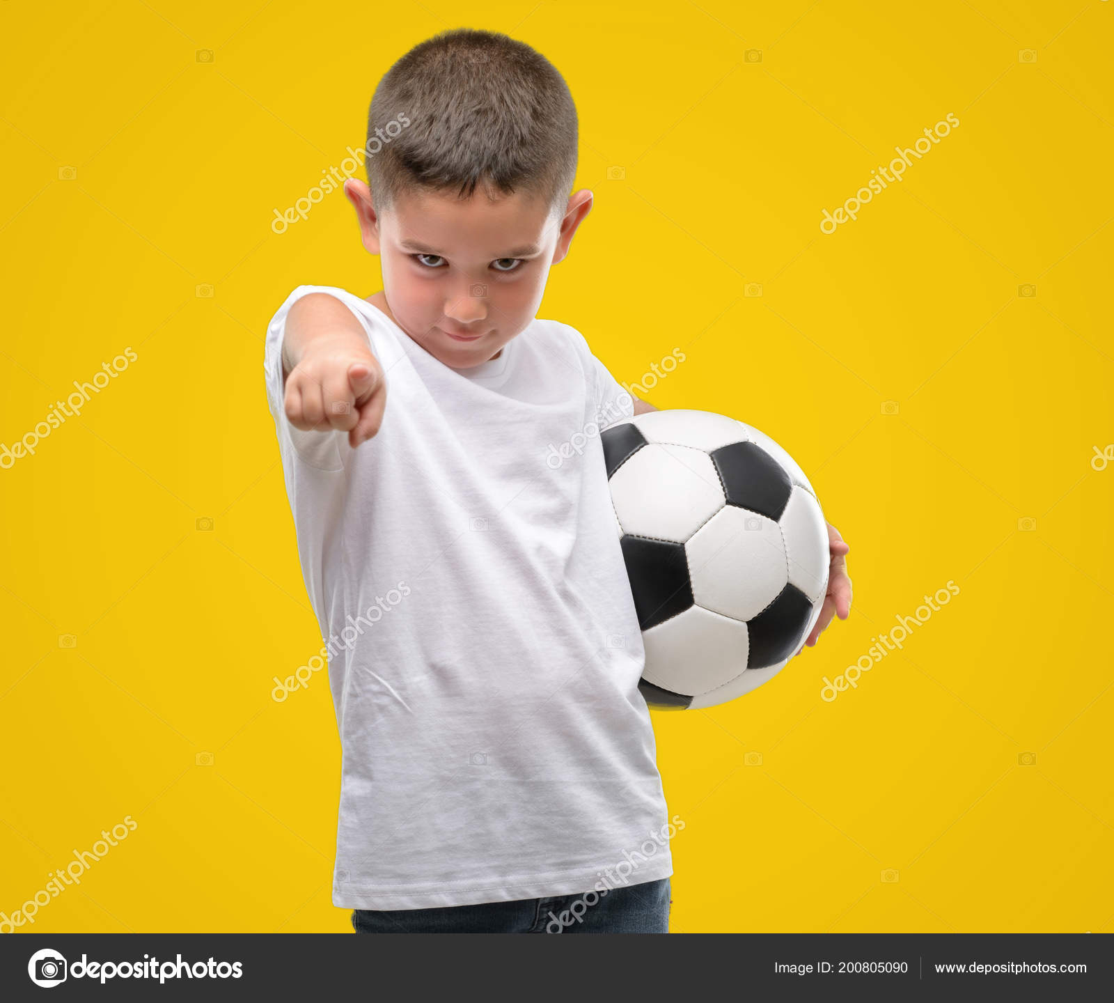 6ed99b6a2 Dark Haired Little Child Playing Soccer Ball Pointing Finger Camera — Stock  Photo
