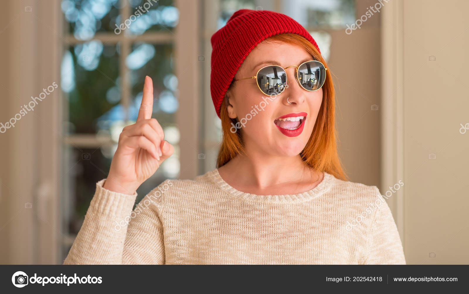 Elegante Gorro Sorprende Lana Pelirroja Mujer Gafas Con Sol 6gf7Yby