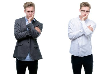Young handsome blond business man wearing different outfits thinking looking tired and bored with depression problems with crossed arms.