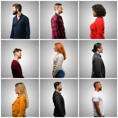 Group of mixed people, women and men side view portrait