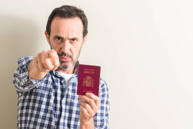 Senior man holding spanish passport pointing with finger to the camera and to you, hand sign, positive and confident gesture from the front
