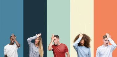 Group of people over vintage colors background surprised with hand on head for mistake, remember error. Forgot, bad memory concept.