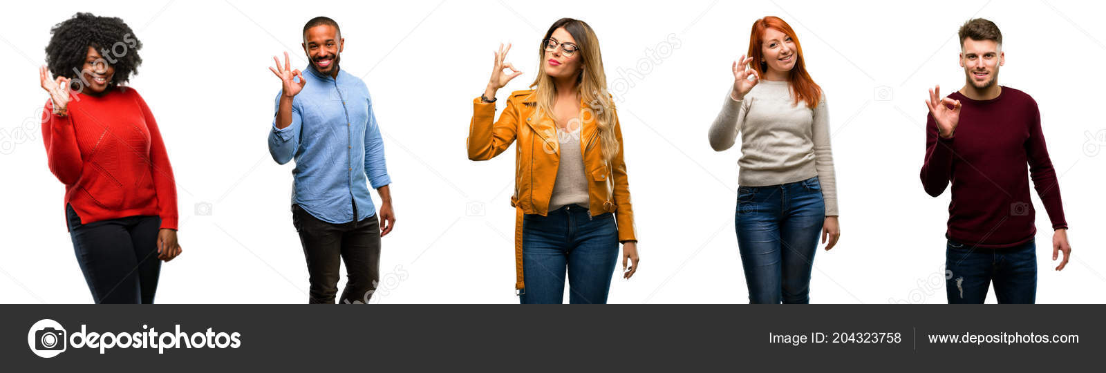 Group Cool People Woman Man Doing Sign Hand Approve Gesture — Stock Photo