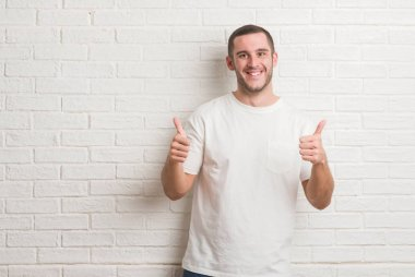 Young caucasian man standing over white brick wall disgusted expression, displeased and fearful doing disgust face because aversion reaction. With hands raised. Annoying concept.