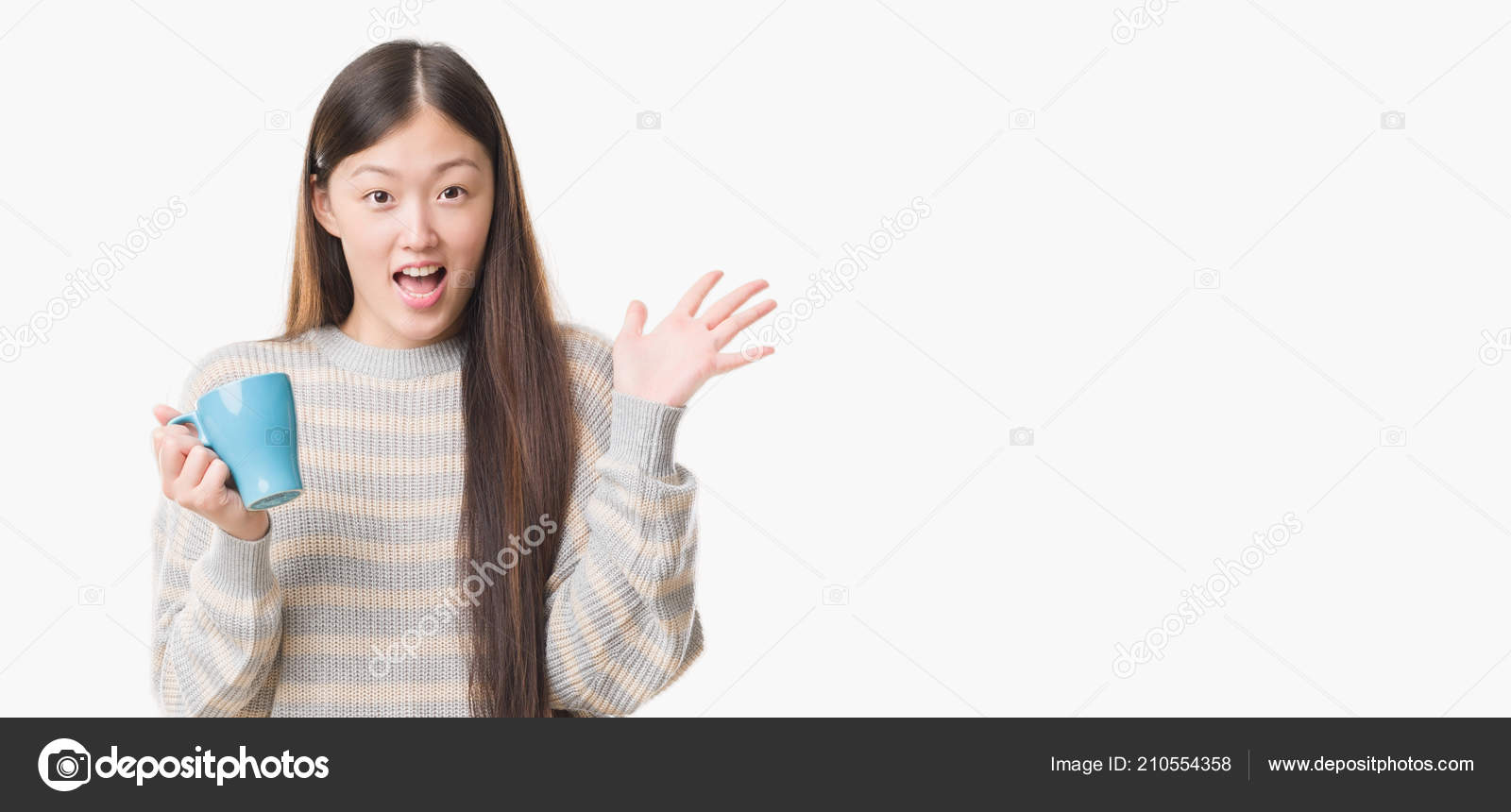 289c8a15987 Young Chinese woman over isolated background driking cup of coffee very  happy and excited, winner expression celebrating victory screaming with big  smile ...