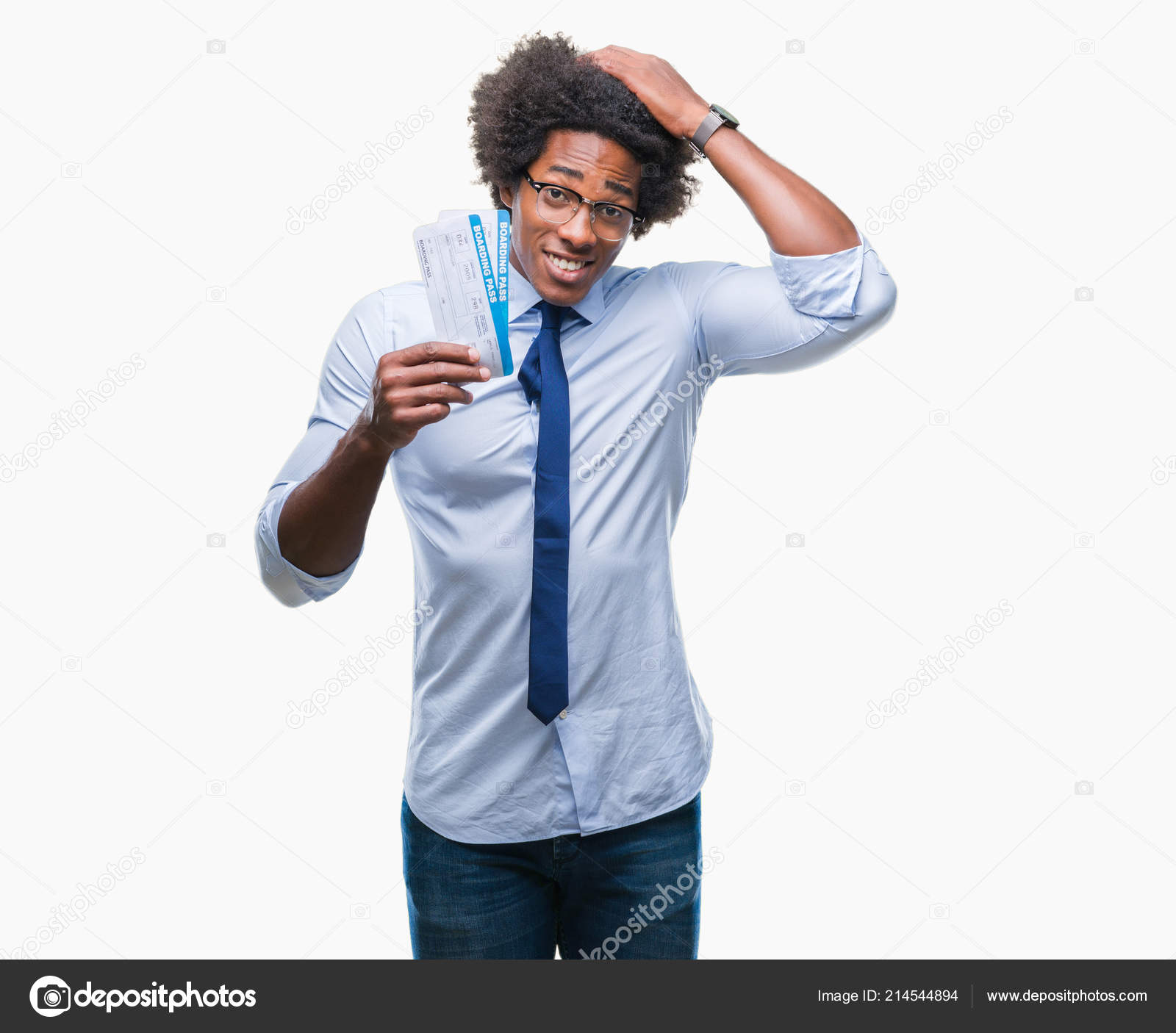 Stressed Out Students How Boarding >> Afro American Man Holding Boarding Pass Isolated Background Stressed