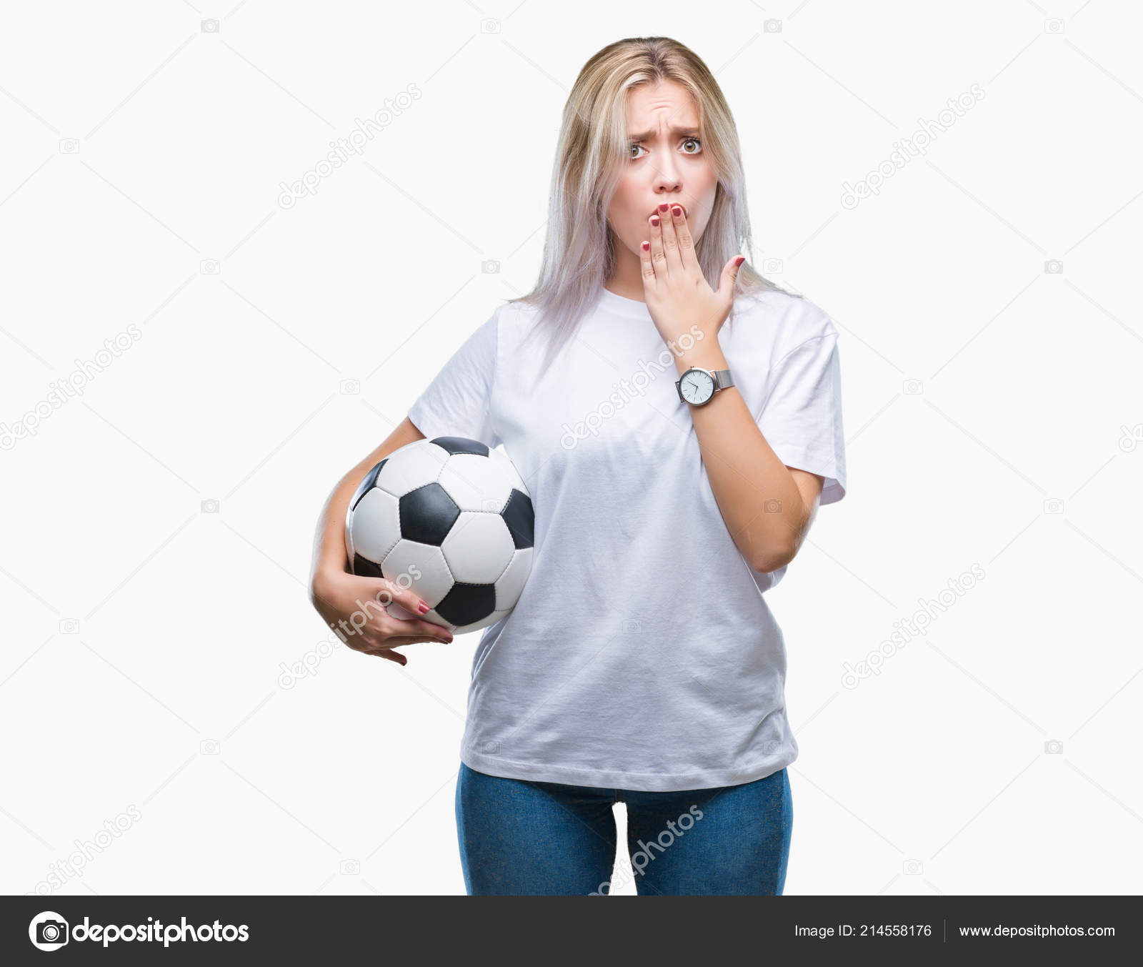 6b860cac1 Young Blonde Woman Holding Soccer Football Ball Isolated Background Cover —  Stock Photo