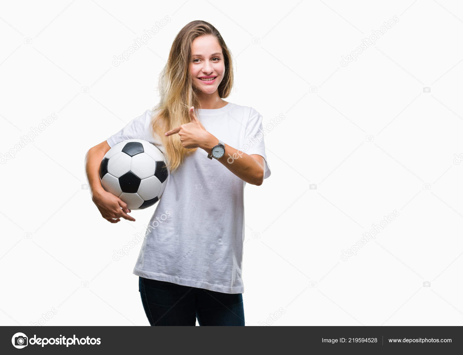 729d806f1 Young Beautiful Blonde Woman Holding Soccer Ball Isolated Background Very —  Stock Photo