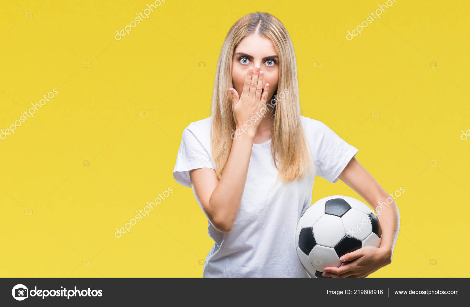 4277b7496 Young Beautiful Blonde Woman Holding Soccer Ball Isolated Background Cover  — Stock Photo