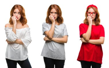 Collage of young beautiful redhead woman over isolated background looking stressed and nervous with hands on mouth biting nails. Anxiety problem.