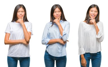 Collage of asian young woman standing over white isolated background looking confident at the camera with smile with crossed arms and hand raised on chin. Thinking positive.