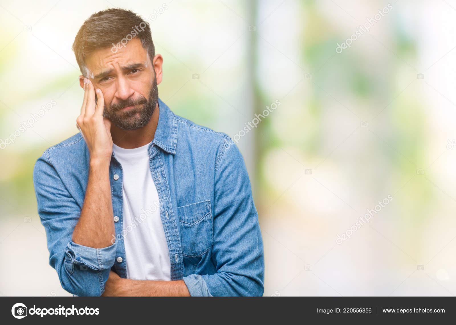 Adult Hispanic Man Isolated Background Thinking Looking Tired Bored  Depression — Stock Photo