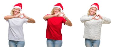 Collage of beautiful middle age blonde woman wearing christmas hat over white isolated backgroud smiling in love showing heart symbol and shape with hands. Romantic concept.